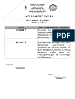Least Learned SkillsSCIENCE 7& FILIPINO 8