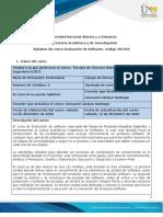 Syllabus de Curso Evaluacion de Software