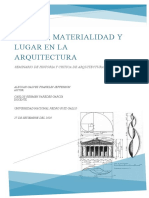 Espacio, materialidad y lugar en la Arquitectura.
