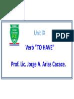 Unit IX - Verb To Have