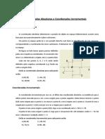 Coordenadas Absolutas e Coordenadas Incrementais - resolução