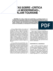 Critica de la modernidad de Alain Tourane