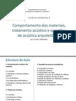 Comportamento dos materiais, tratamento acústico e questões de acústica arq._Larissa Tollstadius