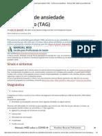 Transtorno de Ansiedade Generalizado (TAG) - Transtornos Psiquiátricos - Manuais MSD Edição Para Profissionais