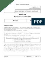 Sujet Francais La Reunion Crpe 2020