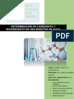 Informe 4 DETERMINACIÓN DE CARBONATO Y BICARBONATO EN UNA MUESTRA DE AGUA grupo 6 (1)