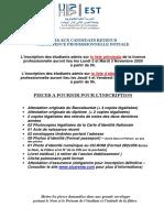 Avis Inscription Licence Prof Initiale 2020-2021