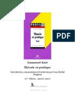 Kant Theorie Et Pratique