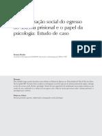 A Reintegração social do egresso do sistema prisional e o papel da psicologia
