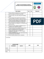 CHECKLIST for Installation & Testing of Fire Fighting Pipe Work