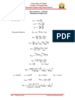 Equations Chapter 1& 2 (ChE421) Fall 2020