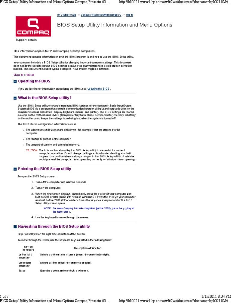 BIOS Setup Utility Information and Menu Options Compaq Presario