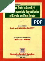 Science Texts in Sanskrit in Manuscripts Repositories of Kerala & Tamilnadu - K.V.Sarma, V. Kutumba Sastry