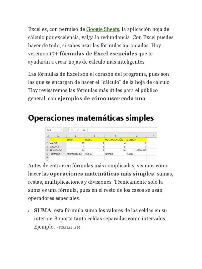 Formulas Ecxell   Hoja de cálculo   Microsoft Excel