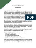 Summary of Demand, Supply, and Market Equilibrium