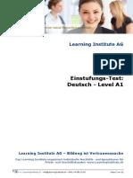 Einstufungstest Deutsch a1 Www.learninginstitute.ch
