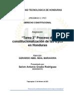 Tarea 2 - proceso de constitucionalización de las leyes en Honduras