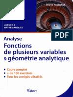 Bruno Aebischer - Analyse. Fonctions de Plusieurs Variables Et Géométrie Analytique _ Cours Et Exercices Corrigés. Licence 2 Mathématiques-Vuibert (2011)