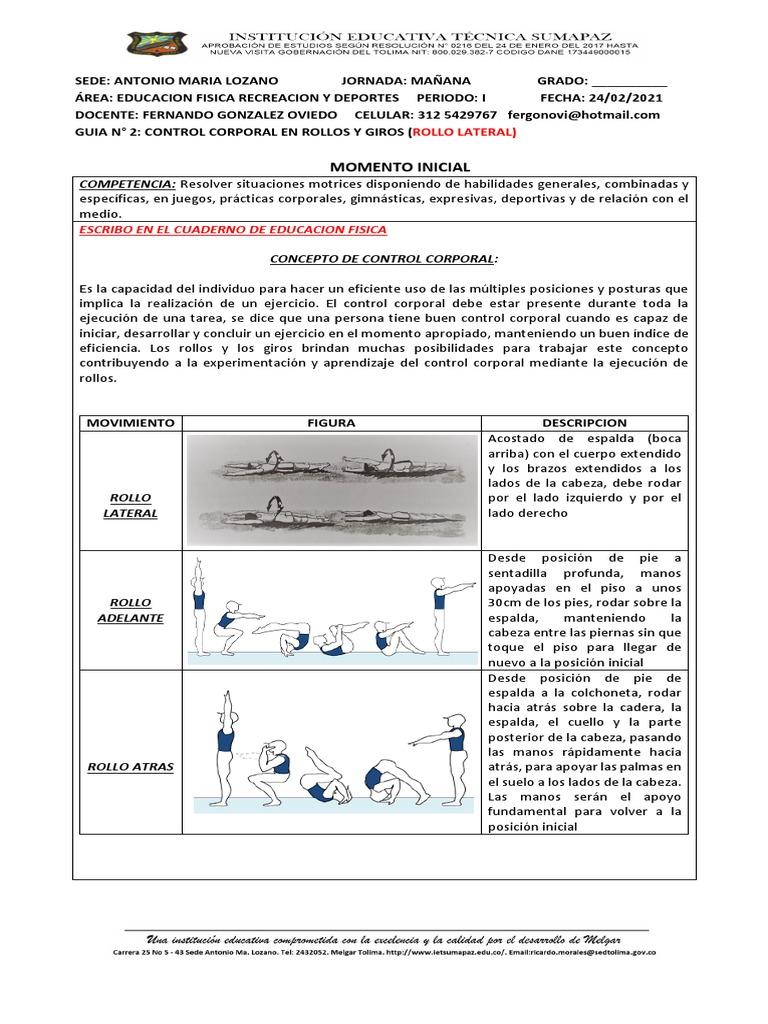 Guia 2 Control Corporal En Rollos Y Giros Deportes Bienestar