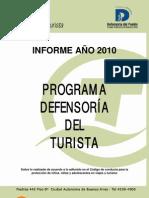 INFORME AÑO 2010 DEL PROGRAMA DEFENSORÍA DEL TURISTA