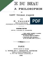 L Idee Du Beau Dans La Philosophie de Saint Thomas d Aquin 000000768