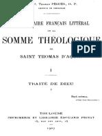 Commentaire francais litteral de la Somme theologique tome 1 1ere partie