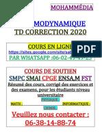 Td Thermodynamique Fst Mohammédia 2020