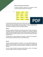 EJEMPLOS DE OBJETIVOS DE INVESTIGACIÓN