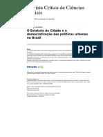 AVRITZER-o-estatuto-da-cidade-e-a-democratizacao-das-politicas-urbanas-no-brasil