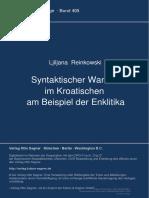 [9783954790364 - Syntaktischer Wandel im Kroatischen am Beispiel der Enklitika] Syntaktischer Wandel im Kroatischen am Beispiel der Enklitika