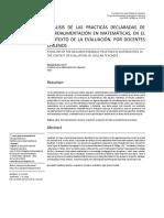 análisis de las prácticas declaradas de retoalimentación en matemática