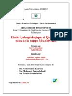 272352468 Etude Hydrogeologique Et Quali Karra Ghizlane 1368 PDF