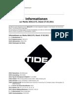 Markenregistrierung TIDE in 2004 (DE30411175) - Status