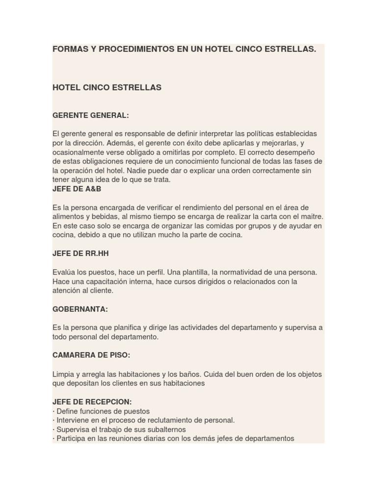 Formas y procedimientos en un hotel cinco estrellas for Manual de procedimientos de alimentos y bebidas de un hotel