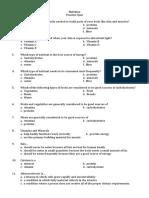 Practice Quiz Nutrition