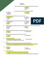 Practice Quiz - Nutrition - Answer Key