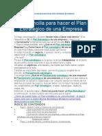 Guía sencilla para hacer el Plan Estratégico de una Empresa