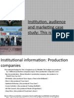 Institution, Audience and Marketing case study - My version
