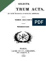 Selecta Martyrum Acta Tomus Secundus