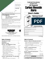 Carcon Monoxide detector manual for Nighthawk model #9000026