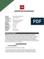 JOB DESCRIPTION OF HR MANAGER