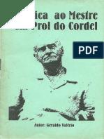 SÚPLICA AO MESTRE EM PROL DO CORDEL