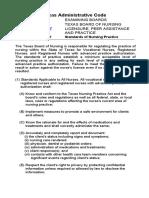 1105 Texas BON Standards of Nursing Practice