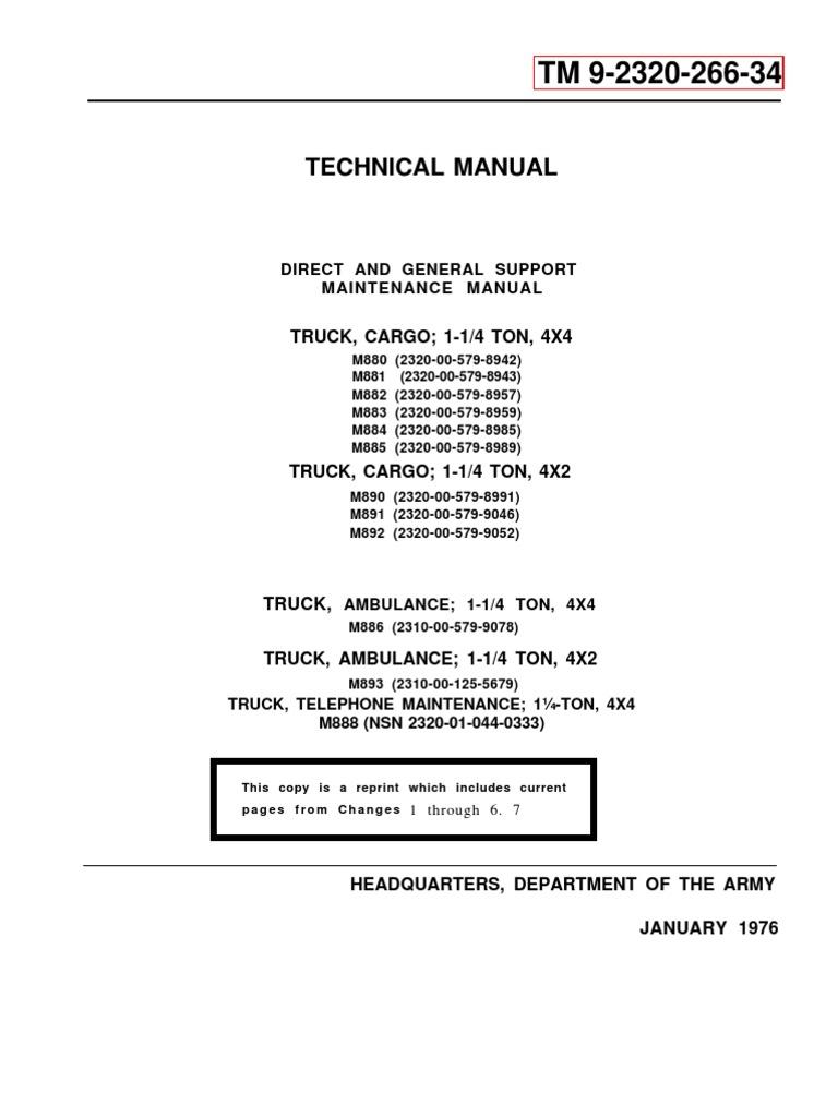 army tm 9-2320-266-24 mantainance manual dodge m880 1-� ton 4x4 jan76 |  manual transmission | carburetor