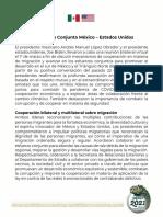 Declaración Conjunta México-Estados Unidos, 01mar21