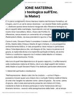 LA MEDIAZIONE MATERNA (Riflessione teologica sull'Enc. Redemptoris Mater) - Romana - Opus Dei