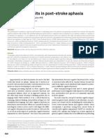 Cognitive deficits in post stroke aphasia - Bonini