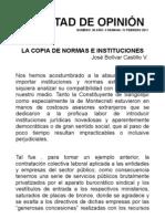 LA COPIA DE NORMAS E INSTITUCIONES