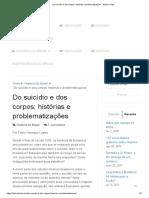 Do Suicídio e Dos Corpos_ Histórias e Problematizações - História Hoje