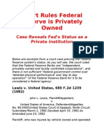 Court Document Proves Fed is a Private Bank